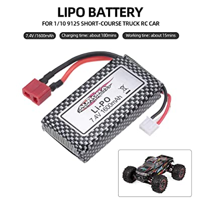 Leslaur XINLEHONG Toys Lipo Battery 7.4V 1600mAh Car Battery for 1/10 9125 Short-Course Truck RC Car: Toys & Games
