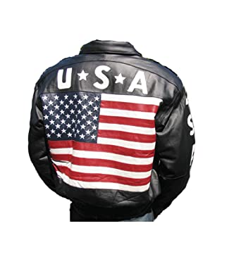 5f822931b67 Bonus Men s USA Flag Jacket Black Genuine Leather with Zip Out ...