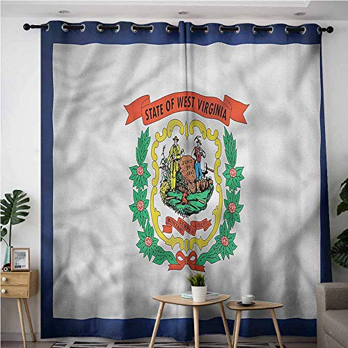 AndyTours Living Room/Bedroom Window Curtains,American State of West Virginia,Blackout Draperies for -