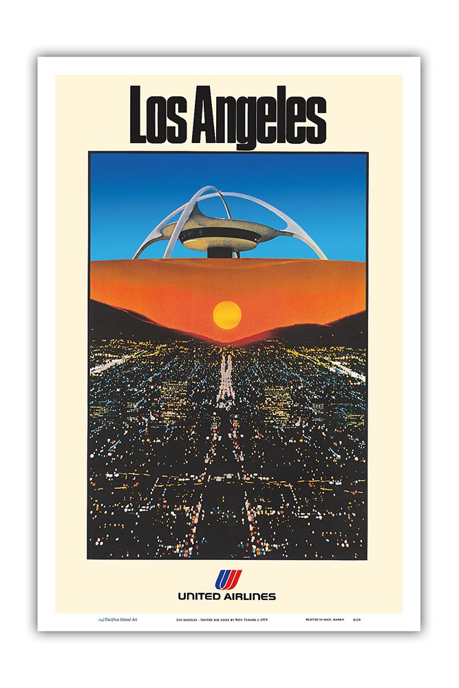 Master Art Print 12in x 18in Vintage Airline Travel Poster by Pete Turner c.1979 Los Angeles LAX Theme Building United Air Lines