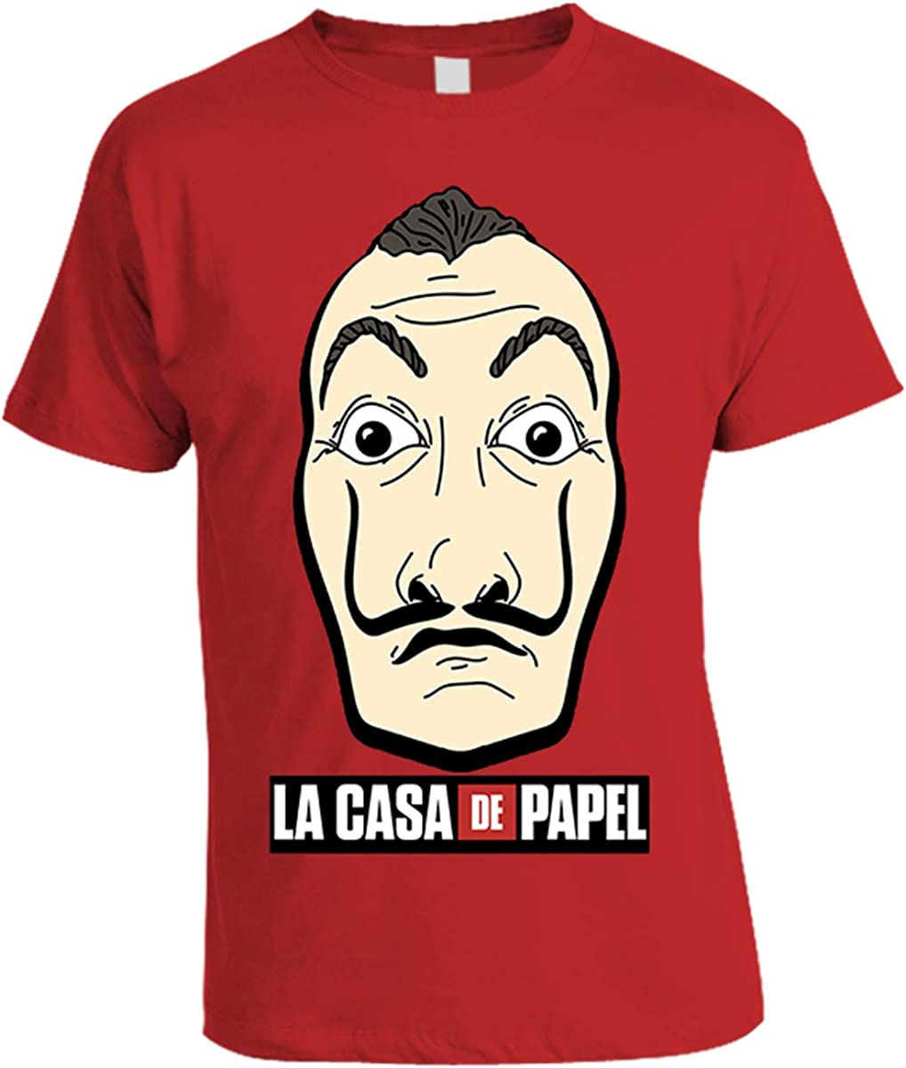 Casa De Papel Money Heist Red Tshirt Front Print Dalì Mask Logo Official Product 100 Original Netflix Tv Series Xxl Amazon Co Uk Clothing