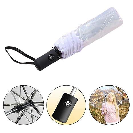Kentop Paraguas Transparente Plegable automático Paraguas automático con botón, Blanco, 23 * 5cm