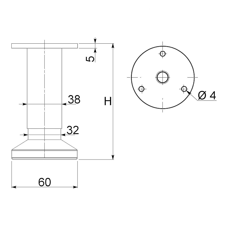SO-TECH/® Pata de Mueble ALPHA Alto ajustable Aspecto de Acero fino cepillado Capacidad de Carga hasta 250 kg Alto 150 mm