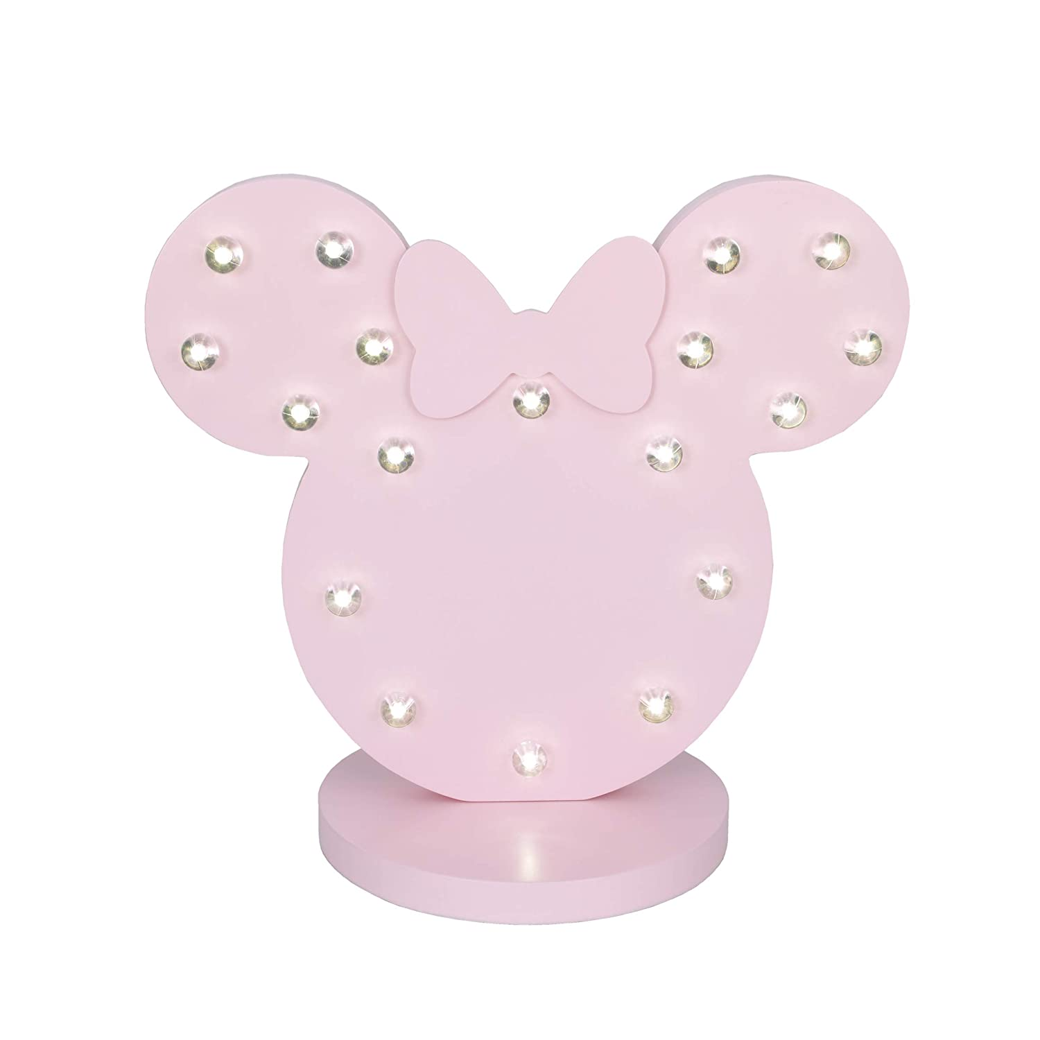 Disney Minnie Mouse Standing Marquee Lighted Room Decor with 3D Bow, Pink