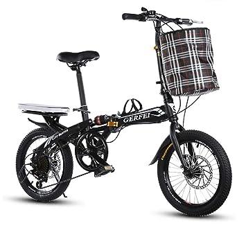 LETFF Bicicleta Plegable para Adultos De 16 Pulgadas De Velocidad Variable con Amortiguación De Choque,