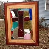 Stained Glass Cross Window Art Sun Catcher, Christian Art, Wood frame