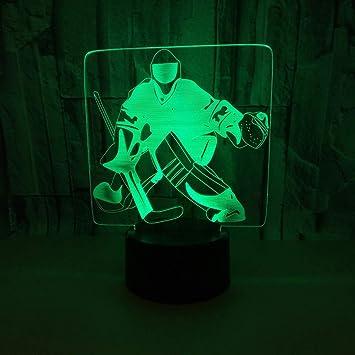 Lumiere De Nuit Hockey Sur Glace Gardien De But 3d Led Lampe D