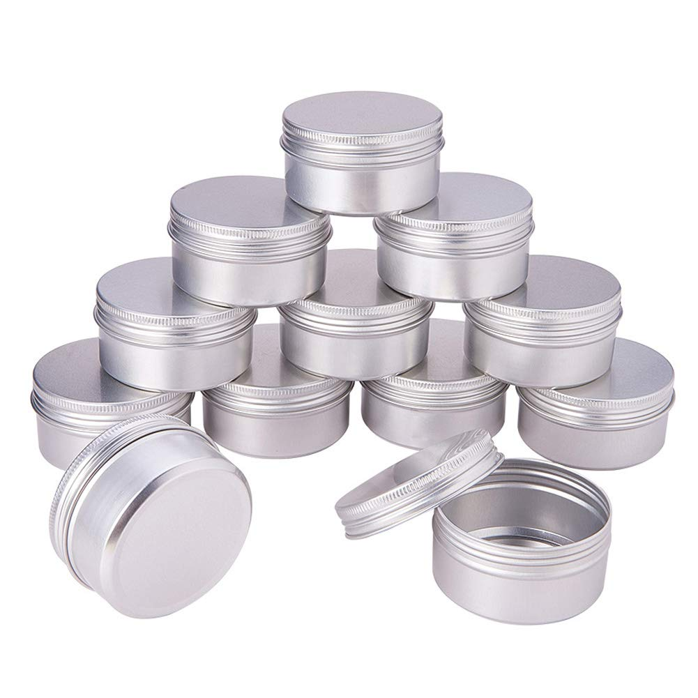 Pandahall Elite 1oz 30 Pack Silver Aluminum Round Tins Empty Slip Slide Round Containers Bottle with Screw Lid for Lip Balm, Crafts, Cosmetic, Candles, Travel Storage PH PandaHall wh-CON-PH0001-06B