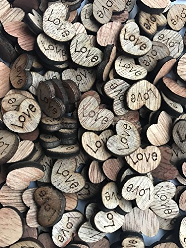 NIGHT-GRING 200pcs Rustic Wooden Love Heart Wedding Table Scatter Decoration Crafts Children's DIY Manual Patch]()