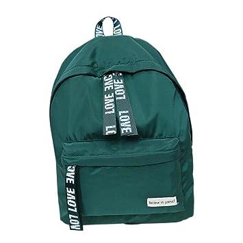 Bolso, Manadlian Chicas Chicos Bolso escolar de la letra Mochila de viaje Cartera Mochila hombro mujer (30cm(L)*40(H)*15cm(W), Verde): Amazon.es: Hogar