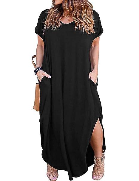 Kancystore Women\'s Plus Size Casual Loose Pocket Long Dress Short Sleeve  Plus Size Slit Maxi Dress XL-5X