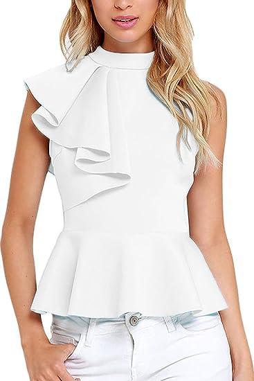 Mujer 2017 Verano Peplum Casual Elegante Oficina Cuello Redondo Ruffle Lado Top Shirt Blusas Camisas Blanco