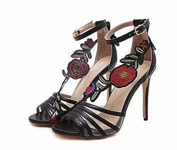 SHINIK Mujer Peep Toe Zapatillas 2018 Verano Nuevo Tacón Alto Sandalias Encantador Flor Zapatos: Amazon.es: Deportes y aire libre