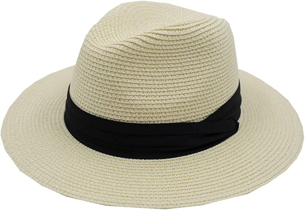 Home Prefer Womens Wide Brim Fedora Straw Hat Beach Sun Hat Panama Hat