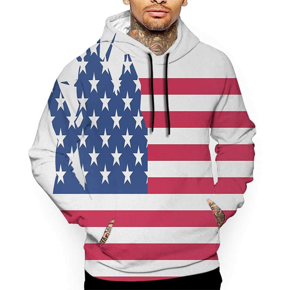 Unisex 3D Novelty Hoodies New York,Statue of Liberty Flag Silhouette Universal Symbol of Democracy Illustration,Blue Red White Sweatshirts for Girls