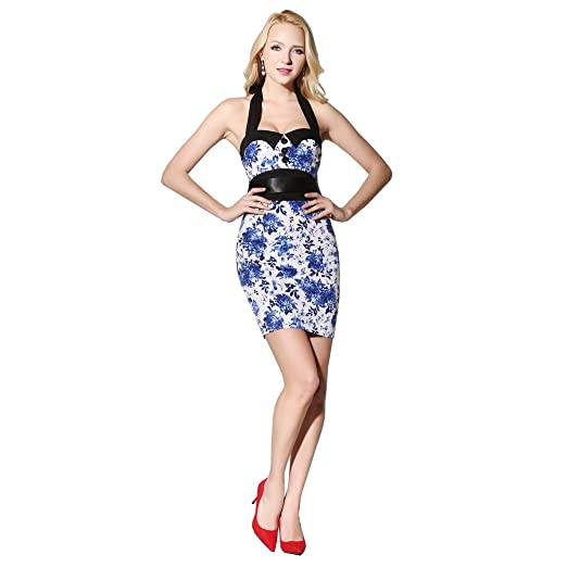 9ca0c98ab1 FiftiesChic Pencil Skirt Halter Neck 100% Cotton Polka Dot Floral 50s  Vintage Retro Dress