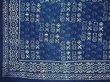 Veggie Dye Block Print Tapestry Cotton Bedspread 110'' x 110'' King Indigo Blue