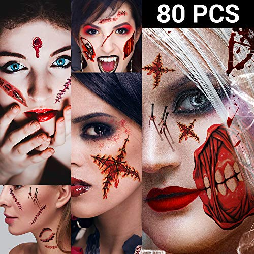 Zombie Neck Halloween Makeup (Zombie Makeup, Halloween Zombie Makeup Kit, Scar Tattoos, 5(Large)+6(Small) Pack Fake Scars Tattoos, Halloween Makeup Kit, Zombie Makeup Kit for Kids and Adults, Healthy, Waterproof, Long)
