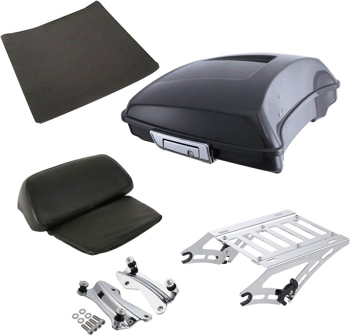 SLMOTO 5.5 ABS Razor Pack Trunk Two Up Mount Rack 4 Point Docking Kit Fit For Harley Tour Pak Street Street Glide FLHX 2014-2020