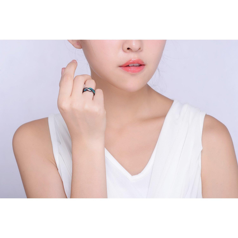 Kingwin Blue Opal black Rings women Full Sizes Optional: Amazon.co ...