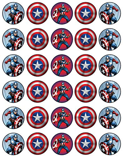 30 x Edible Cupcake Toppers - Captain America Themed Collection of Edible Cake Decorations | Uncut Edible Prints on Wafer -