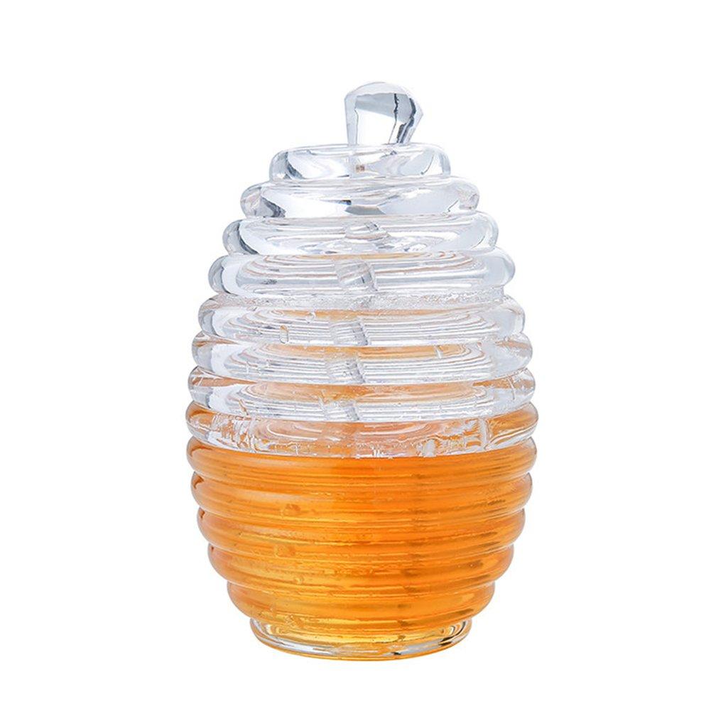 Honey Pot and Drizzler, 265 ml/9 Ounces High Quality Transparent Honey honey jars with lids Stir Bar PROKTH
