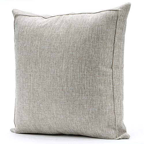 Jepeak Burlap Linen Throw Pillow Case Cushion Cover Farmhouse Decorative Solid Square Pillowcase, Thick Luxury Handmade with Invisible Zipper for Sofa Couch (22 x 22 Inches, Beige+Khaki Threads)
