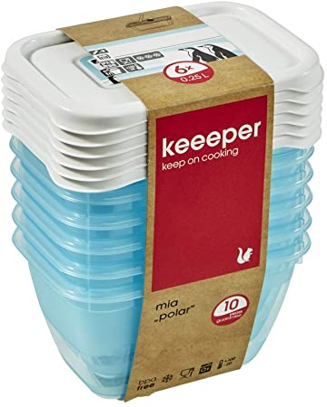 keeeper MIA Polar Botes para Alimentos, PP, Ice Blue (Transparente), 6X 250 ml, 6: Amazon.es: Hogar