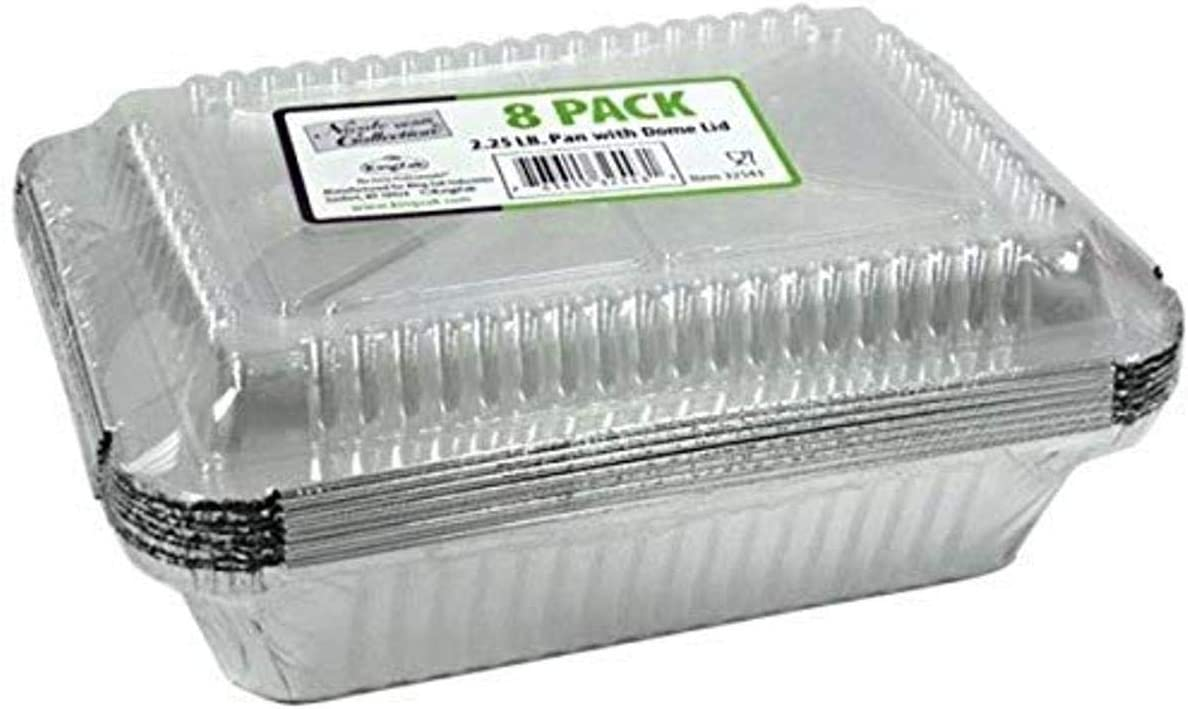 Nicole Home Collection Disposable 2.25 lb Dome Lid   Pack of 8 Aluminum Pans, Silver