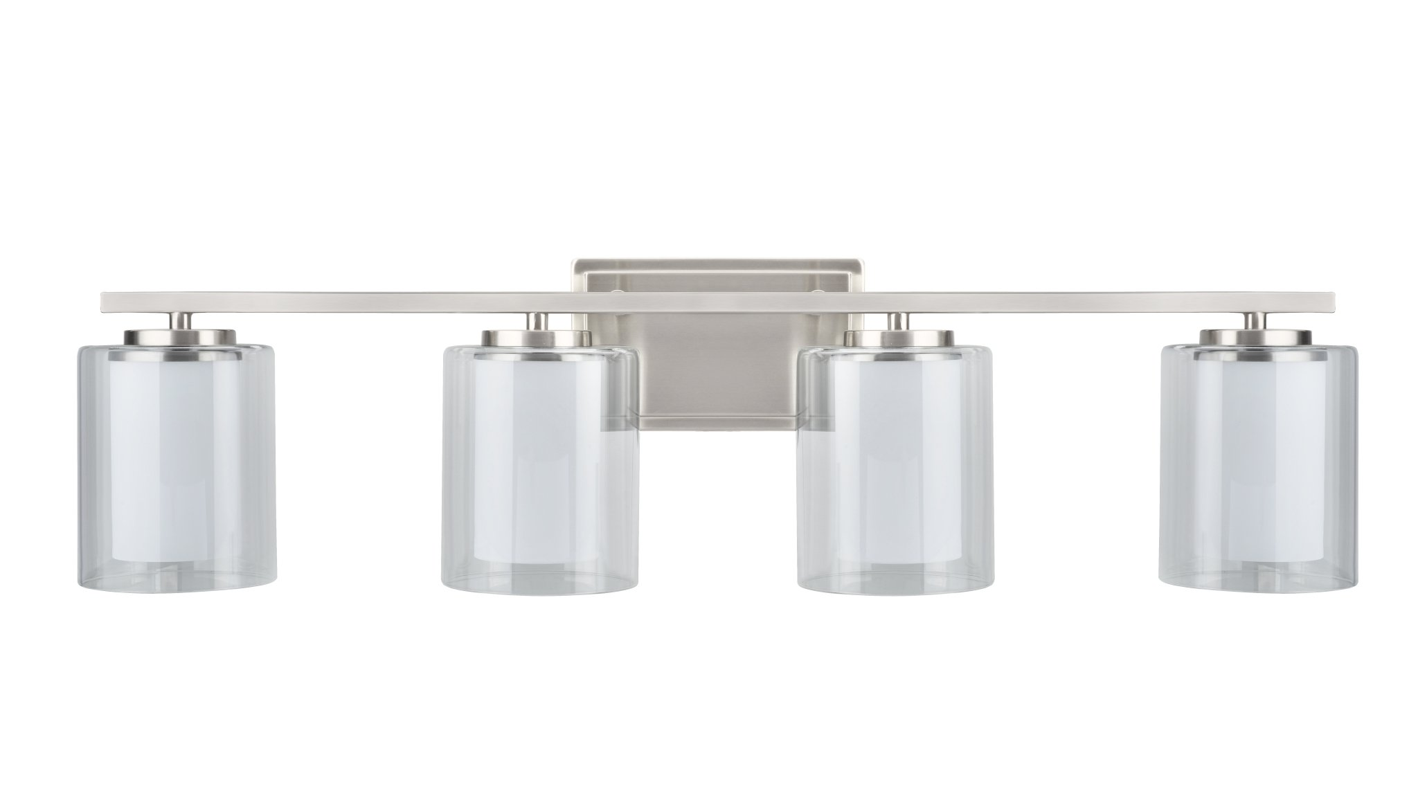 Aspen Creative 62104, Four-Light Metal Bathroom Vanity Wall Light Fixture, 32'' Wide, Transitional Design in Satin Nickel with Clear Glass Shade