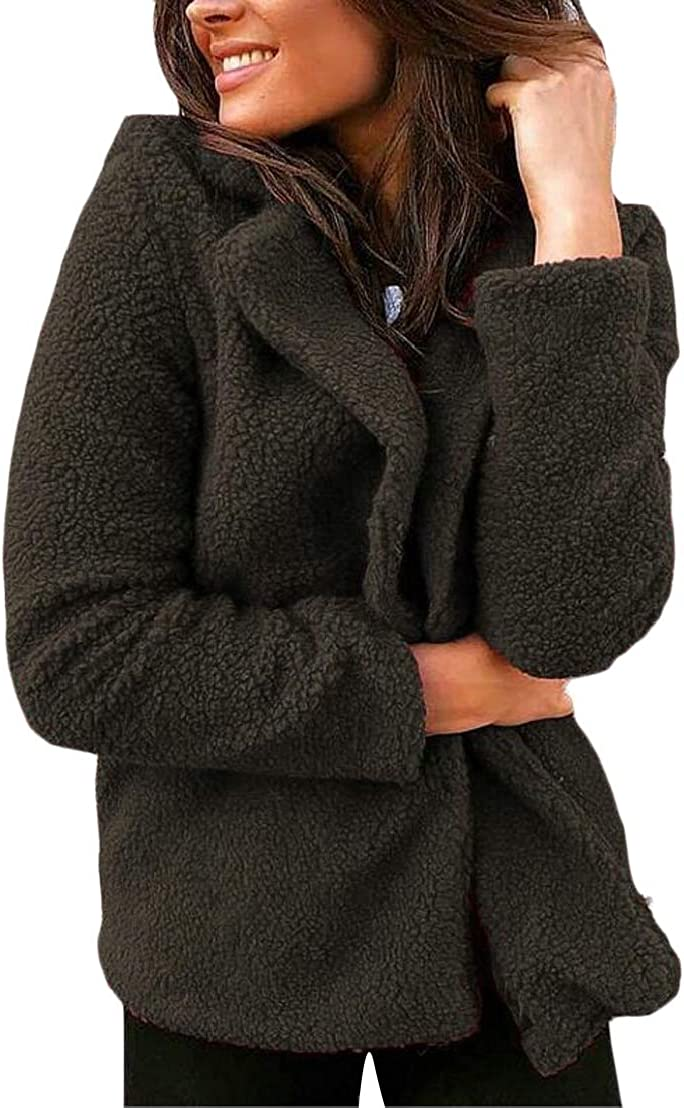 Generic Womens Winter Long Sleeve Lapel Slim Fit Pure Color Fuzzy Jackets