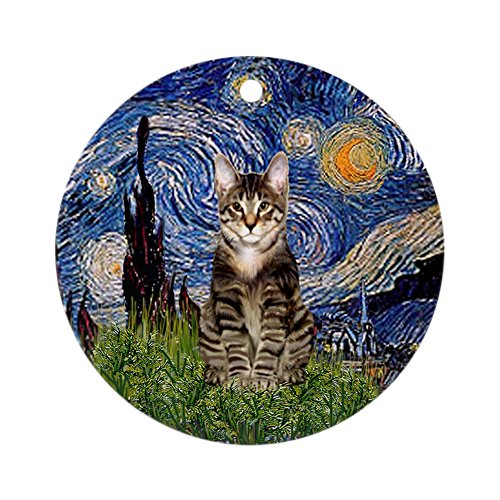 CafePress Starry Night Tabby Cat Ornament (Round) Round Holiday Christmas Ornament