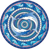 Floating Pong Dolphin Pool Mat - Mosaic Pool Emblem - 59' - Vinyl - Works in Most Pools - Easy Drop-in Installation