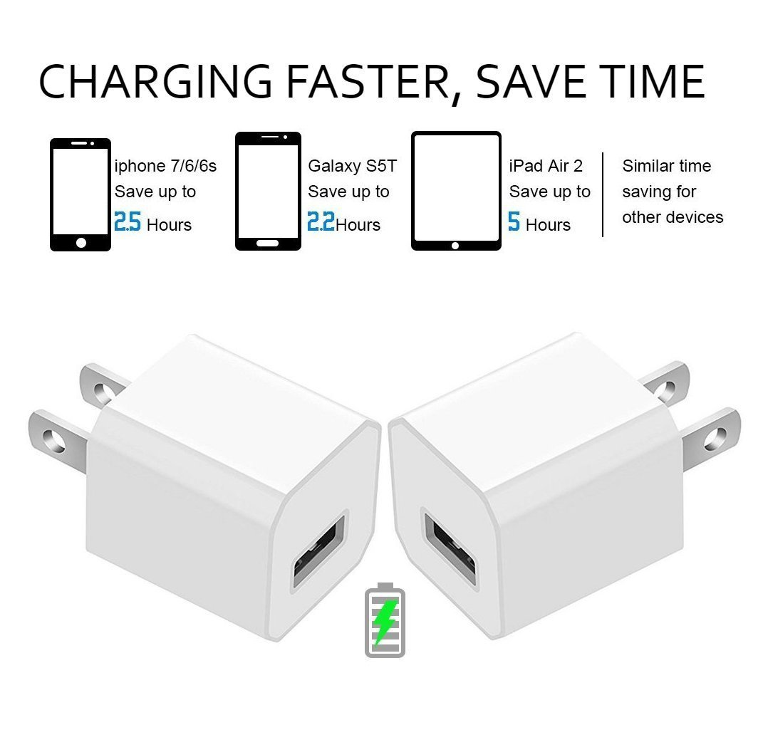 Certified 5W 1A USB Power Wall Charger with 2-Pack 10FT/3M [Heavy Duty] Nylon Braided 8 Pin Lightning to USB Cable Charger (Silver) (4-Pack) (2 Pack 10 Feet + 2 USB Adapters) by Power Boost (Image #4)