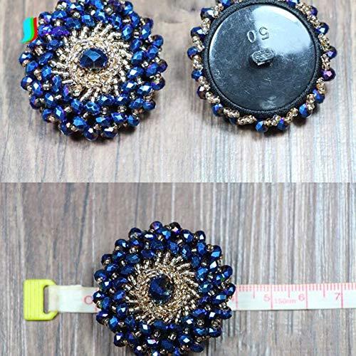 Maslin DIY Handmade Blue Glass Beads Handmade Beaded Buttons Wool Coat Windbreaker Women's Fashion Design Buttoned Clothes S241P - (Color: Blue)