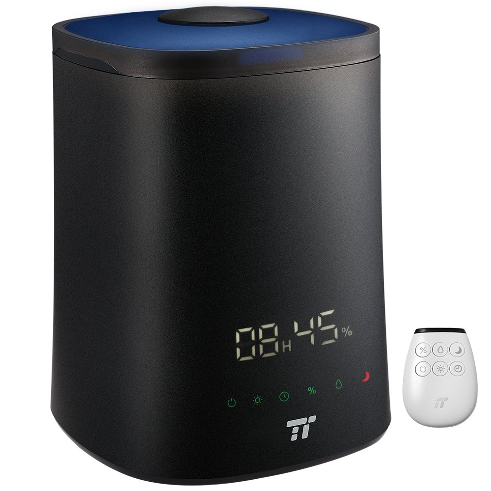 TaoTronics Humidifiers for Bedroom Babies Room, Top Fill Cool Mist Humidifier Essential Oil Compatible, 7 Color LED Lights, Easy to Fill & Clean, 15-30 Hours, Remote Control-(4.5L/1.18gal, 100-240V)