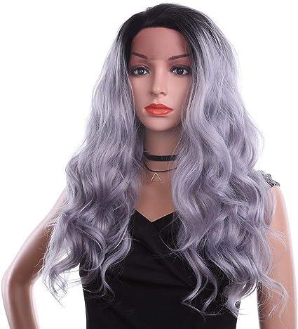 KSIODND 24 pulgadas encaje frente peluca sintética Ombre pelo gris pelucas sintéticas peluca negra larga para las mujeres: Amazon.es: Belleza
