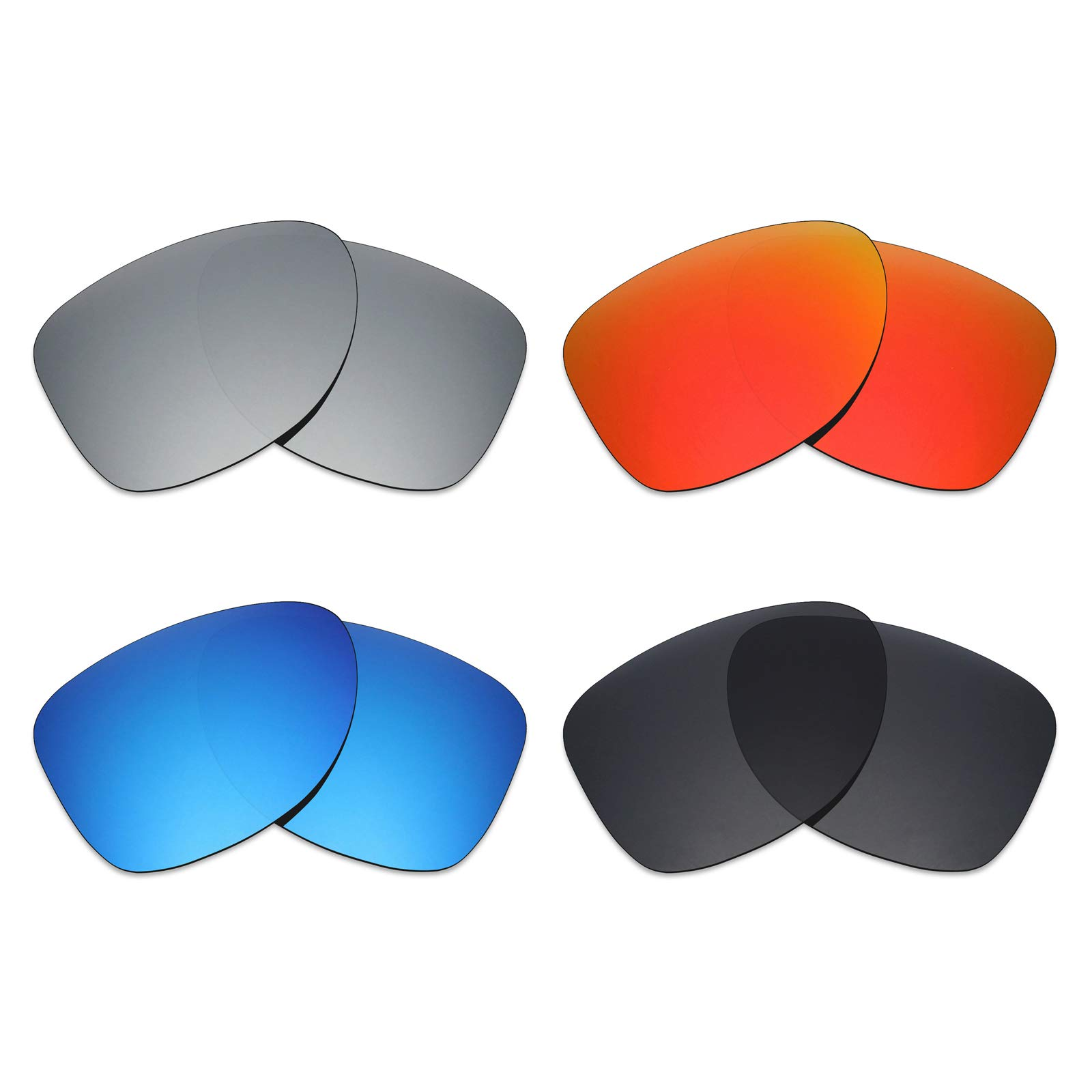 c5833e0857 Mryok 4 Pair Polarized Replacement Lenses for Oakley Dispatch 2 Sunglass -  Stealth Black Fire Red Ice Blue Silver Titanium