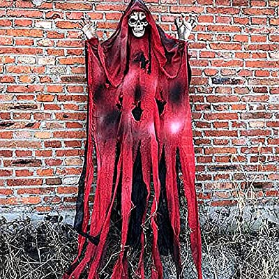 Red 70 Inch Halloween Ghost Decorations Scary Props Hanging Life Size Skeleton Flying Ghost Decor for Yard Outdoor Indoor Party
