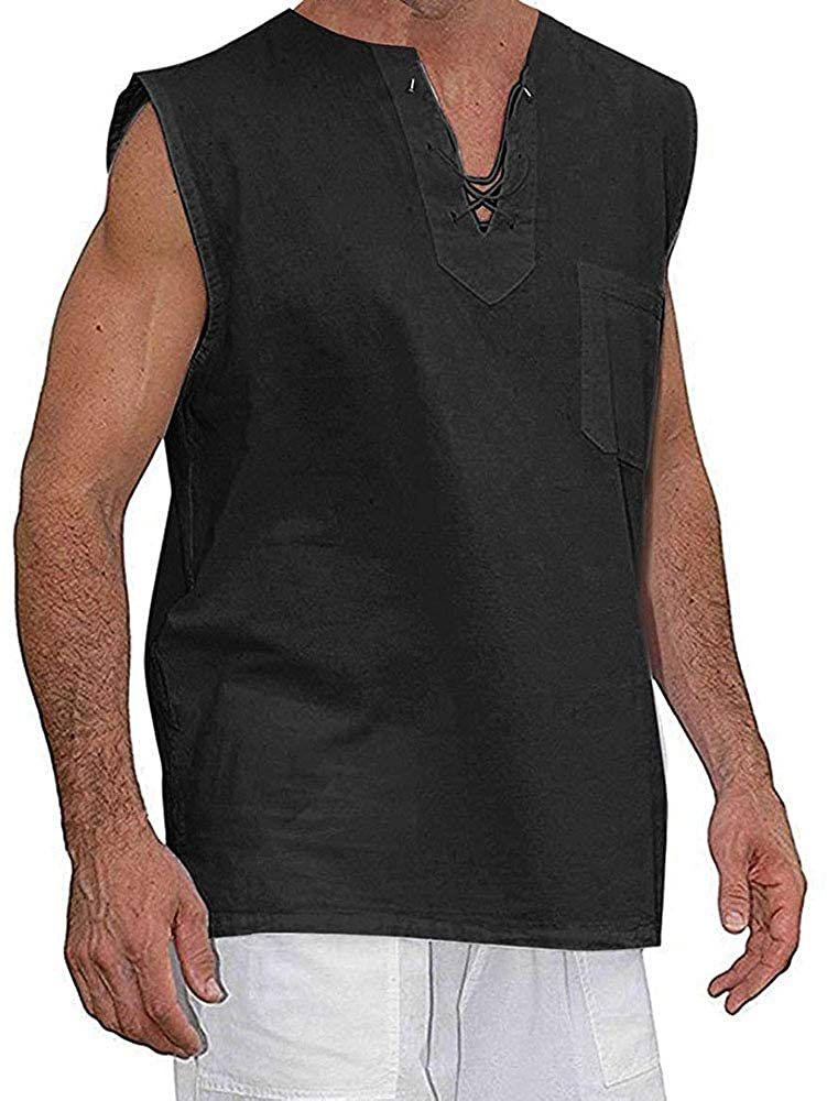 Taoliyuan Mens Sleeveless Shirt Beach Tank Tops Hippie Cotton Summer Casual Lace up V Neck Blouse