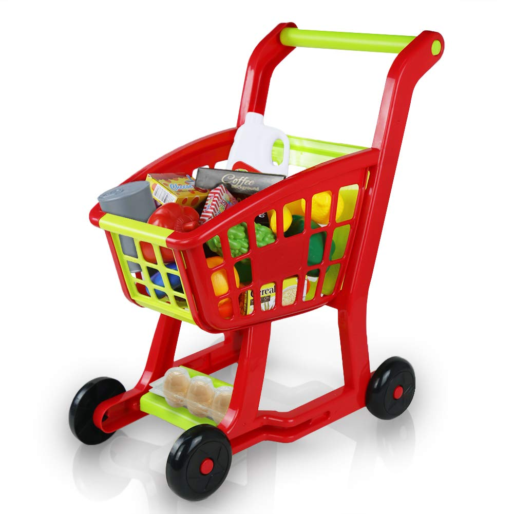 Fajiabao Kids Shopping Cart Toy Play Grocery Cart Trolley Supermarket Pretend Playset with 27 PCS Fruits Vegetables Food for Toddler Child Boys Girls 2 3 4 5 6 Years Old