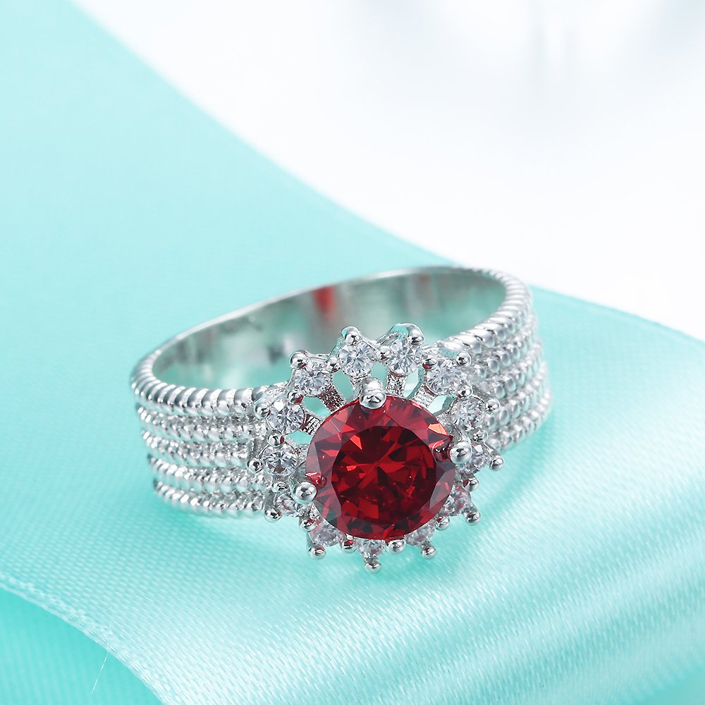 Jixin4you Creative Plated 925 Silver Flower Red Wedding Rings