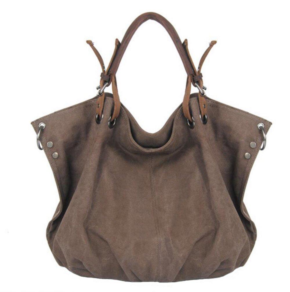 FXTXYMX Oversized Vintage Hobo Canvas Leather Tote Handbag Crossbody Shoulder Bag Purse for Women (Coffee)