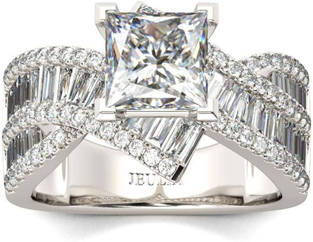 JEULIA 2 Carat Princess Cut Engagement Rings Women Sterling Silver White Diamond Bypass Ring Cubic Zirconia Twisted Wedding Bridal Ring Set Anniversary Promise Ring with Jewelry Box