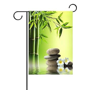 Alaza Japanische Zen Steine Bambus Deko Garten Flagge Polyester Fur