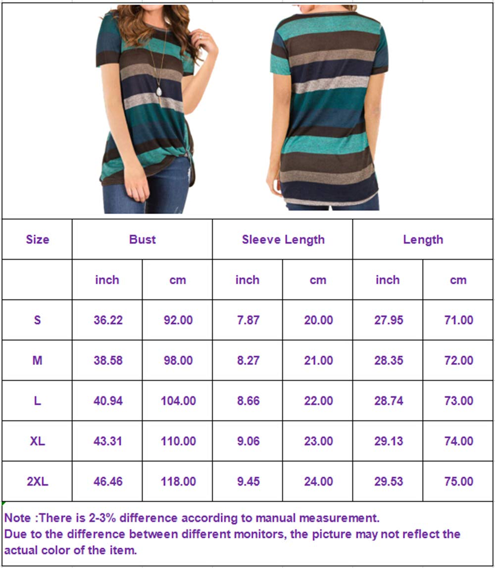 Eanklosco Women\'s Tops Striped T-Shirts Front Knot Tunic Casual Blouses Short Sleeve (M/UK 10, Dark Purple)