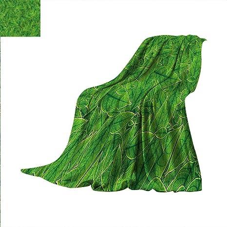 117f4d89e49cd Amazon.com: Green Lightweight Blanket Leaves of Amazon Rainforest ...