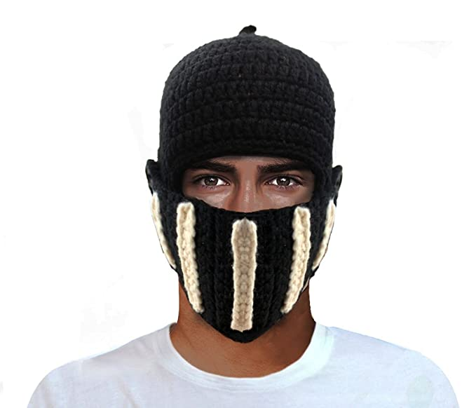 aedbef2cb GIANCOMICS Roman Cosplay Knight Helmet Visor Crochet Knit Beanie Hat Winter  Mask Cap