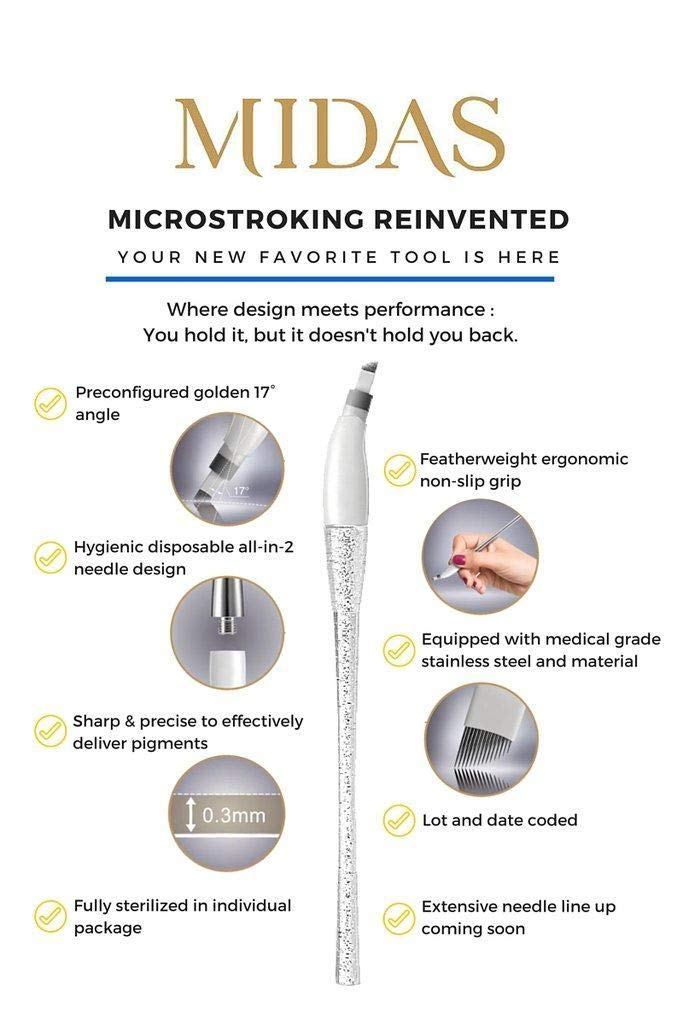 Midas Advanced Needle Pack - Box of 10 - 0.25mm 12-Pin Microblading Needles by Mei-Cha