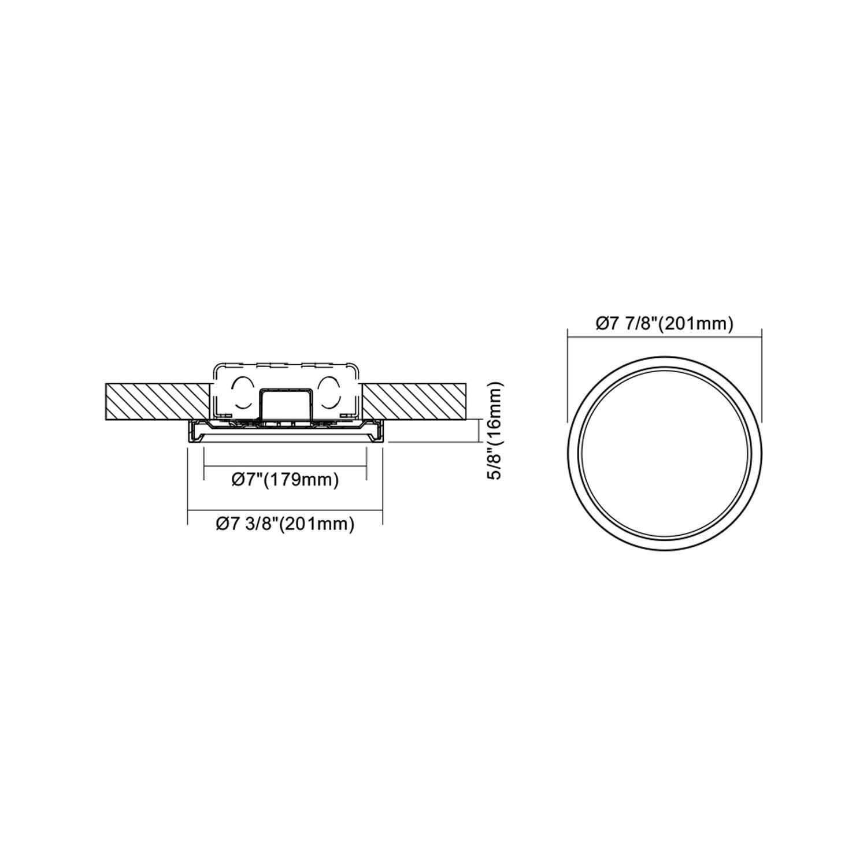 JULLISON 7 inch LED Slim Surface Mount Ceiling Light Fixture, 120V, 15W, 900LM, 3000K Warm White, CRI80, Driverless, ETL Certified, Damp Location, White - Round, 1 Pack by JULLISON (Image #7)